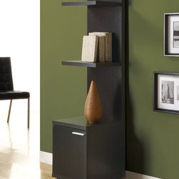 Monarch - Cappuccino Hollow-Core Audio And Display Tower - This sleek looking piece has clean lines, in a rich dark cappuccino finish that will complement your home decor. A storage cabinet below three shelves keep items organized and are ideal for books and your favorite decorative accent items.
