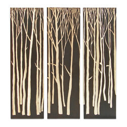 Palecek - Birch Forest Wall Decor, Set of 3, Brown - Tung wood panels painted brown with birch tree hand-carved to reveal natural wood tone. Metal hardware at top back for hanging.