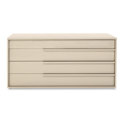 Zuri Furniture - Blake High Gloss Dark Beige 4 Drawer Dresser - The Blake contemporary dresser offers a high gloss minimalistic look and feel for any casual chic bedroom space. Blake is constructed with a high gloss taupe lacquer finish and four spacious drawers.