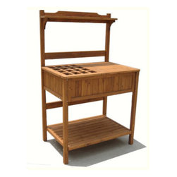 Garden Potting Bench with Recessed Storage -