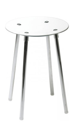 WS Bath Collections - Noni 5365KV Stool in White - Noni 5365 by WS Bath Collections 11.8 Dia. x 16.5 Stool, Seat in Colored Abs, Galvanized Chromed Abs, Transparent Polycarbonate, Legs in Stainless Steel, Screws in Chromed Steel, Slip-proof Feet