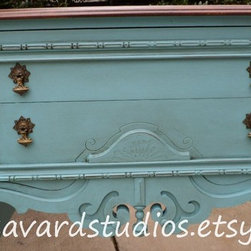 Hand Painted Furniture - Vintage ornate French buffet, hand painted and distressed in a beautiful, unique turquoise color. Gorgeous mahogany top refinished and stained.