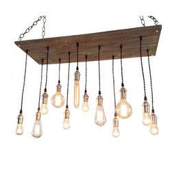 Industrial Lightworks - Urban Industrial Chandelier - 12 Edison Bulb Pendants - Rustic / Industrial style chandelier