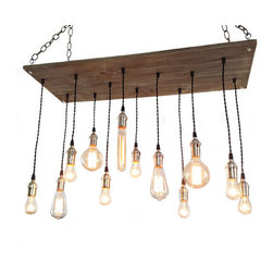 Industrial Lightworks - Urban Industrial Chandelier - 12 Edison Bulb Pendants - Rustic / Industrial style chandelier