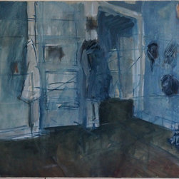 "Tom Hamilton, 1951 - 2011, 'Blue Interiors' Series (55) - Blue Interior' Series; unsigned watercolor on paper; 21""W. X 21""H."