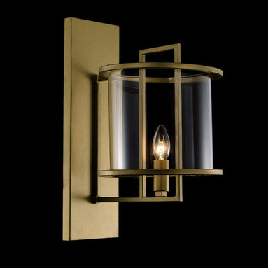 Simple Brass and Glass Hurricane Lamp/Wall Sconce - The modern wall sconce features brass base, candelabra bulbs and the glass protector around it. With the light directed upward, sconces are most readily used in hallways. Add this contemporary wall lighting fixture to your home and enjoy luminous upgrade.
