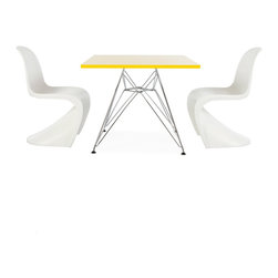 """Vertigo Interiors - Eames Style Kids Square Yellow Table & 2 Kids S Chairs, White Chairs - Vertigo Interiors is proud to present to you the highest quality reproduction of the Kid's Eames Square Table and Kid's Panton S Chairs on the market today. Both stylish and decorative, this set can be used in a playroom, at school, in a nursery, or as a dining set. The tabletop is constructed of high quality ABS plastic with a chrome """"Eiffel"""" base and the Panton chair is made of heat molded ABS."""