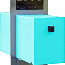 Retro Modern Mailbox by Retro Handmade Uniques - With an illuminating custom address plaque and a minimalist modern post, this retro mailbox is available in several punchy colors.