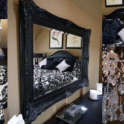 French Country Master Bedroom Renovation - Finishing Details make the space.  Tan and Black colour scheme combined with ornate details and patterns create a space that is a balance between masculine and feminine.