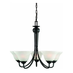 DHI-Corp - Drake 5-Light Chandelier, Oil Rubbed Bronze - The Design House 514885 Drake 5-Light Chandelier is made of formed steel, alabaster glass and finished in oil rubbed bronze. This 5-light chandelier is rated for 120-volts and uses (5) 60-watt medium base incandescent bulbs. This chandelier's sprawling arms meet (5) upward facing lamps gently diffusing light from above. Measuring 20.5-inches (H) by 24-inches (W), this 15.3-pound fixture comes with a 48-inch chain that converts this ceiling mounted light to an elegant chandelier. Twisted steel accentuates the alabaster glass to create a rustic centerpiece over a dining room table, in an entry way or in a kitchen. This product is UL and cUL listed. The Drake collection features a beautiful matching island pendant, vanity light, wall sconce and mini pendant. The Design House 514885 Drake 5-Light Chandelier comes with a 10-year limited warranty that protects against defects in materials and workmanship. Design House offers products in multiple home decor categories including lighting, ceiling fans, hardware and plumbing products. With years of hands-on experience, Design House understands every aspect of the home decor industry, and devotes itself to providing quality products across the home decor spectrum. Providing value to their customers, Design House uses industry leading merchandising solutions and innovative programs. Design House is committed to providing high quality products for your home improvement projects.