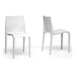 """Wholesale Interiors - Baxton Studio Blanche Side Chair (Set of 2) - Because there is much truth to the saying """"less is more"""" and; the beautiful, minimalist Blanche Dining chair is an ideal choice for those looking to adopt a clean, contemporary look for their home. It is stackable, this design works wonderfully in smaller spaces such as apartments and studios as well as frequently-cleaned and rearranged settings. Features: -Minimalist style.-Non-marking feet.-White molded plastic (single mold).-Baxton Studio Collection.-Collection: Baxton Studio.-Finish: White.-Distressed: No.-Frame Material: Plastic.-Non-Toxic: Yes.-Upholstered Seat: No.-Upholstered Back: No.-Nailhead Trim: No.-Swivel: No.-Foldable: No.-Stackable: Yes.-Number of Legs: 4.-Leg Material: Plastic.-Casters: No.-Protective Floor Glides: Yes.-Adjustable Height: No.-Outdoor Use: No.-Swatch Available: No.-Commercial Use: No.-Recycled Content: No.-Product Care: Wipe clean with a damp cloth.Dimensions: -Overall Height - Top to Bottom: 31"""".-Overall Width - Side to Side: 17.25"""".-Overall Depth - Front to Back: 16.3125"""".-Arms: No.-Overall Product Weight: 10 lbs.Assembly: -Assembly Required: Yes.-Tools Needed: Screwdriver.-Additional Parts Required: No."""