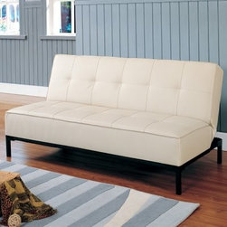 Colville Convertible Sofa - Cream - If you're seeking the perfect seating or sleeping solution the Colville Convertible Sofa - Cream is your answer. In just a few quick and easy steps it converts from a sofa to a bed and back again. Crisp clean lines and sleek metal legs in black enhance the contemporary design. The 8-inch-thick cushion contains high-density foam padding for comfort and support. The leather-like bicast vinyl upholstery is durable and easy to clean. Designed to sleep two people comfortably this handy convertible sofa comes in elegant cream to blend with any decor.Dimensions:Sofa position: 70.875L x 34W x 32.5H inchesBed position: 70.875L x 43.25W x 16.5H inches