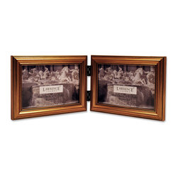 Lawrence Frames - Antique Gold Wood Double 6x4 Horizontal Picture Frame - Classic Frame - A classic gold color profile that has been complimenting homes for decades.  High quality black velvet backing for horizontal tabletop display. Hand finished 6x4 Hinged Double picture frame is made with exceptional workmanship and comes individually boxed.