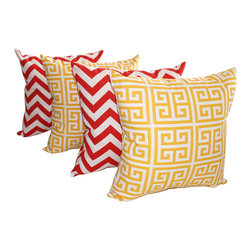 Land of Pillows - Chevron Red and Towers Citrus Yellow Geometric Outdoor Throw Pillows - Set of 4 - Give your decor a pop of bold color, with these geometrically patterned throw pillows. This set of four decorative pillows includes two with a stylish red chevron design, and two with a chic greek key yellow pattern, both on a white background. These square pillows are crafted from a durable fabric that is stain, fade and water resistant, so they look great indoors or out.