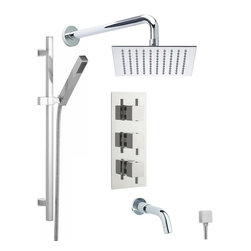 """Hudson Reed - Chrome Thermostatic Shower System With 8"""" Square Rain Head Handset & Tub Spout - The Hudson Reed Astbury Thermostatic Triple Shower Valve (3 Outlet) features square controls for fingertip control. Constructed from brass and with modern ceramic disc technology, this chrome finish minimalist shower valve supplies water to either the fixed Shower Head, Hand Shower or Tub Spout."""