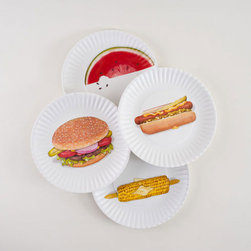 Food-Printed Picnic Plates - Set of 4 - Thanks to this great design invention, you no longer need to bring food on your picnic! (Just kidding.) These cutesy Food-Printed Picnic Plates are made of melamine and are display images of standard American picnic fare. Perfect for the kids--each can have their favorite plate--and easy to clean and reuse, this set of four come ready to make your mouths water.