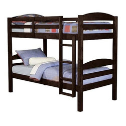 Walker Edison - Twin over Twin Solid Wood Bunk Bed - Espresso - Made of Solid Wood. Pictured in Espresso. Stylish contemporary design. Attractive solid wood finish. Easily and safely separates into 2 twin beds. Conforms to the latest consumer product safety standards. Ideal space-saving design. Maximum recommended upper mattress thickness of 8 in.. Sturdy construction - holds 250 lbs. on both top and bottom level. Does NOT include mattresses or bedding. Ships Ready-To-Assemble. Assembly instructions with online support and toll-free number available. 65 in. H x 80 in. W x 42 in. DElegance and function combine to give this contemporary wood bunk bed a striking appearance. The design gives a stylish modern look crafted with beautiful solid wood. Designed with safety in mind, the bed includes full length guardrails and a sturdy integrated ladder. Great for any space-saving design needs. Unlike other twin bunk beds, this bed also converts into 2 twin beds.. NOTE: ivgStores DOES NOT offer assembly on loft beds or bunk beds. Bunk Bed Warning. Please read before purchase.