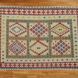 Kilim Qasqagi - Hand Woven 5'4'' X 8'2'' Vegetable Dyes Special Colors Kilim Oriental Area Rug.