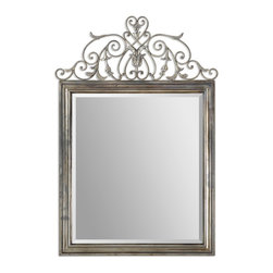 "Uttermost - Uttermost Kissara Metal Mirror 12865 - Hand forged metal frame with an open design of curled flourishes and leaf details finished in warm, tarnished silver. Mirror features a generous 1 1/4"" bevel. Matching console table is item #24347."