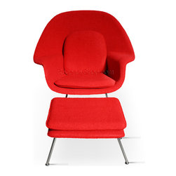 """Womb Chair & Ottoman - Red - Our comfy Chair, with its matching ottoman, is a reproduction of the """"Womb chair"""" designed in 1948, by Architect and Designer Eero Saarinen. The Comfy Chair comes with a steel rod base and polished-chrome finish, combined with its frame upholstered in fabric all covering a fiberglass shell. These elements highlight Saarinen's brilliant design aesthetic and his architectural skills."""