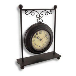 Zeckos - Dark Brown Metal Table or Desk Clock 9 x 7 In. - This decorative metal clock adds a wonderful accent to any shelf, desk, or table in your home or office. It measures 9 inches tall, 7 inches long, 2 1/4 inches wide and has a lovely dark espresso brown finish. The clock face measures 3 inches in diameter and has easy-to-read black numbers and hands to mark the time. The clock features a quartz movement and runs on 1 AA battery (not included). This piece is sure to be admired, and makes a great gift for friends and family.