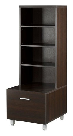 Nexera - Syntax 52 in. Low Satellite Storage Tower in Espresso Finish - 6 Shelves, 4 of which are adjustable. 1 Door with metal handles. Wide satellite unit for audio and accessories storage. Adjustable metal legs for optimal adjustment. Made of engineered wood. Assembly required. 19 in. W x 20 in. D x 53 in. H (54 lbs.)The Element Collection was designed to provide you with as much flexibility as you want to design your own home entertainment area. The collection offered in trendy Espresso Finish which allows you to create different combination to better suit your needs. You even have the choice between the traditional tall towers matching the support panel wall, or the shorter and wider ones without the wall, for a more modern look.