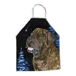 Caroline's Treasures - Starry Night Mastiff Apron SS8463APRON - Apron, Bib Style, 27 in H x 31 in W; 100 percent  Ultra Spun Poly, White, braided nylon tie straps, sewn cloth neckband. These bib style aprons are not just for cooking - they are also great for cleaning, gardening, art projects, and other activities, too!