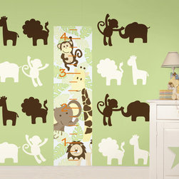 "Jungle Nursery Set of Wall Decals Set of Wall Decals - It's a jungle out there. This pack includes a 13"" x 52"" Jungle Friends growth chart, eight 13"" Ivory Jungle silhouettes (2 giraffes, 2 lions, 2 monkeys, and 2 elephants), and eight 13"" Espresso Brown Jungle silhouettes. All WallPops are repositionable and always removable."
