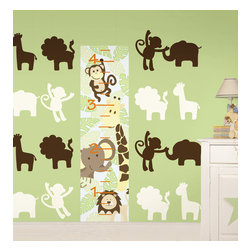 """Jungle Nursery Set of Wall Decals Set of Wall Decals - It's a jungle out there. This pack includes a 13"""" x 52"""" Jungle Friends growth chart, eight 13"""" Ivory Jungle silhouettes (2 giraffes, 2 lions, 2 monkeys, and 2 elephants), and eight 13"""" Espresso Brown Jungle silhouettes. All WallPops are repositionable and always removable."""