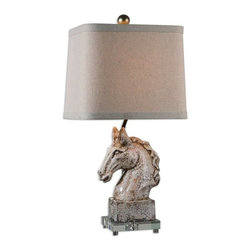 Matthew Williams - Matthew Williams Rathin Horse Transitional Table Lamp X-1-28462 - Crackled ivory ceramic with a dark brown glaze and acrylic foot. The slightly tapered, rectangle hardback shade with curved corners is a beige linen fabric with natural slubbing.