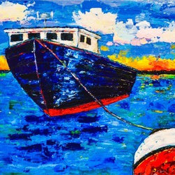 Working Boat At Sunrise (Original) by Joy Pesaturo - One evening my husband was telling me about lobster fishing in New England as a teenager and showing me pictures of what the work boats looked like.  I was inspired and immediately set to work on this!  This piece is heavily textured and very vibrant.  It would look great in a New England home by the sea.  It was fun to paint, I didn't hold back on the sunrise!  Shades of blue, red, yellow, pink, orange, green, and white come together and create a beautiful impressionistic piece.
