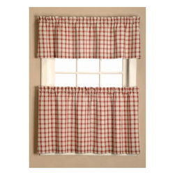 Window Accents - Window Accents Austin Plaid Woven Rod Pocket 3 Piece Tier and Valance Set Multic - Shop for Curtains and Drapes from Hayneedle.com! A cheery way to brighten up your kitchen the Window Accents Austin Plaid Woven Rod Pocket 3 Piece Tier and Valance Set is cute as a button. This curtain set is made of naturally woven 100% cotton in a traditional red and white plaid pattern to look great in any casual room. The fabric is woven to help filter outside light. This set comes complete with two tiers and one valance with a classic rod pocket design that hangs easily on decorative rods. To clean simply machine-wash on cold and tumble-dry on low.About Arlee Home FashionsArlee Home Fashions Inc. manufactures and markets household textiles like decorative pillows chair pads floor cushions curtains table linens and pet beds. The company was incorporated in 1976 and is based in New York New York.