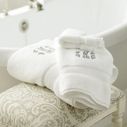 Ballard Designs - Ballard Signature Towels - White - We traveled the globe to find our decadent Signature Towel. Loomed from the finest, long-staple Turkish cotton, preferred by the world??s best hotels for its luxuriously soft feel and exceptional absorbency. Oversized and extra thick, each towel is finished with a classic dobby border. Add a monogram for a custom touch.Ballard Signature Towel features:Ultra-plush 750-gram weight. Stays fluffy after washing. Fast-drying. Soft, relaxing colors. 100% aerocotton*Please note that personalized items are non-returnable.
