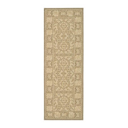 Safavieh - Power Loomed Rug (6 ft. 7 in. x 2 ft. 4 in.) - Size: 6 ft. 7 in. x 2 ft. 4 in. Transitional design. Synthetic fiber. Machine made weave. Made from polypropylene. Coffee and sand color. Made in Belgium. Safavieh takes classic beauty outside of the home with the launch of their Collection. These rugs are suitable for anywhere inside or outside of the house. To achieve more intricate and elaborate details in the designs, Safavieh used a specially-developed sisal weave. Care Instructions: Vacuum regularly. Brushless attachment is recommended. Avoid direct and continuous exposure to sunlight. Do not pull loose ends; clip them with scissors to remove. Remove spills immediately; blot with clean cloth by pressing firmly around the spill to absorb as much as possible. For hard-to-remove stains professional rug cleaning is recommended.