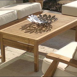 Fifthroom - Teak Coffee Table - This expertly crafted Teak coffee table will fit well with almost any patio group.  The clean, straight lines keep the design simple, but the decorative inlay creates curiosity to make it �just right.�