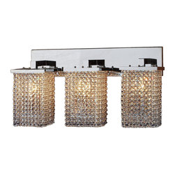 """Worldwide Lighting - Prism 3 Light Chrome Finish Crystal String Wall Sconce Light 25"""" W Extra Large - This stunning 3-light wall sconce only uses the best quality material and workmanship ensuring a beautiful heirloom quality piece. Featuring a radiant chrome finish and finely cut premium grade crystals with a lead content of 30%, this elegant wall sconce will give any room sparkle and glamour. Worldwide Lighting Corporation is a privately owned manufacturer of high quality crystal chandeliers, pendants, surface mounts, sconces and custom decorative lighting products for the residential, hospitality and commercial building markets. Our high quality crystals meet all standards of perfection, possessing lead oxide of 30% that is above industry standards and can be seen in prestigious homes, hotels, restaurants, casinos, and churches across the country. Our mission is to enhance your lighting needs with exceptional quality fixtures at a reasonable price."""