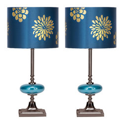 """Casa Cortes - Casa Cortes Costa Azul 19"""" Table Lamp - Set of 2 - Refresh the decor of your living space with the floral design of this glass table lamp. Features an elegantly designed drum shade with gold flowers on a shiny blue background. The metal base is adorned with a glass elliptical ball that makes a breathtaking addition to modern, contemporary, and even transitional living spaces. Set includes 2 lamps."""