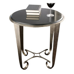 Global Views Quad Loop End Table - This table adds a little touch of glam and sparkle with its substantial pewter legs.