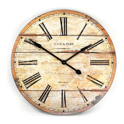 """Kathy Kuo Home - Cafe de Paris Rustic French Cottage Style Old Wood Wall Clock - Evoke a sense of the old world with this wooden wall clock.  Intentionally distressed, it features iron hands, Roman numerals and a screen printed """"Cafe de Paris"""" motif contributes to its French cottage style.  Perfect for the rustic interior or country home, this battery-operated clock will keep today's time without detracting from old-style décor."""