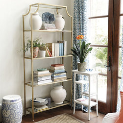 Ballard Designs - Chloe Wide Etagere - Great in pairs. Hand applied Brass finish. The pagoda style top gives our Silvia Etagere a stylish Chinese Chippendale flair. Frame is crafted of steel and features four clear glass for displaying books, porcelains or try it the bath for towels and toiletries. Silvia Etagere features:  . .
