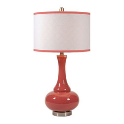 Genie in a Bottle Table Lamp - From your nightstand to living room side table, the Genie in a Bottle Table Lamp makes a bright addition. Made of glass, the tomato-colored base matches the piping on the cylindrical lampshade. The shade's soft geometric design adds additional style to any d̩cor.