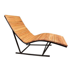 "Shiner - Shiner Lumberyard Chaise, Steel, Cherry - Modern, Eco-Friendly Furnishings Made in Atlanta, Georgia. Our goal is to transform tons of landfill-destined materials into killer designs. By building pieces out of disposable elements, we refine the future by upcycling the past. Everything from the steel, hardwoods, and cardboard to our lexan and linen is diverted from the incinerator. We strive to make every piece knock-down for ease of shipping with less environmental impact. This piece is a carbon steel frame your choice of blackened or brushed steel with wood in your choice of Pine, Oak, Walnut, or Calico (all woods). The Lumber Yard Chaise measures 28""Wx65""Dx42""H and can be used indoors or outdoors."