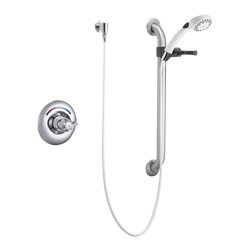 Delta - T13H153 Universal Shower Trim with Handshower and Slide Bar in Chrome - Delta Commercial T13H153 Universal Shower Trim with Handshower and Slide Bar in Chrome.