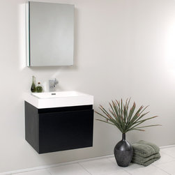 """Fresca - Fresca Nano 24"""" Black Modern Bathroom Vanity W/Innovative Blum Storage System - Striking in its simplicity, the Fresca Nano bathroom vanity combines contemporary style with innovative storage solutions from Blum. At 23.38"""" wide and 21.25"""" high, this vanity is perfect for smaller bathrooms. Yet at a depth of 18.75"""" and complete with a nested drawer, the Fresca Nano bathroom vanity offers all of the convenience of larger, more space consuming designs. Additional storage is provided by the 19.5"""" wide x 26"""" high x 5"""" deep medicine cabinet, enabling you to keep all of your toiletries in easy reach of your stylish bathroom sink.Items included: Vanity, Medicine Cabinet, Sink, Faucet, P-Trap and Pop-Up Drain, Standard hardware needed for installation.DecorPlanet is proud to offer Fresca Bathroom products. Fresca is a leading manufacturer of high-quality vanities, accessories, toilets, faucets, and everything else to give you the freshest bathroom in the neighborhood. Fresca is known for carrying the latest and most popular styles in modern and contemporary bathroom design that are made with high quality materials and superior workmanship"""