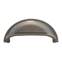 """Hickory Hardware - Williamsburg Oil-Rubbed Bronze Cup Cabinet Pull, 3"""" - Bridges contemporary and traditional design. Offering a deep rooted sense of history in some, with an updated feel and cleaner lines."""