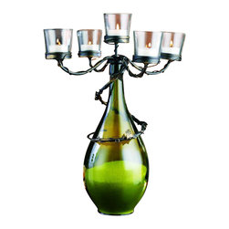 """Home Essentials - Leaf Design Cast Iron Bottle Candelabra - Transform your simple wine bottles into unique centerpieces with our elegant and attractive bottle candelabra. Featuring 4 tealight candle holders and an elegant cast iron design, this candelabra will create a distinct and stunning look to any home. A breathtaking table centerpiece to your kitchen decor, our high quality bottle candelabra effortlessly becomes an enchanting home accent,  and decorative candle holder.    * Dimensions: D: 12.5"""" H: 17"""""""