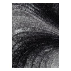 Rug - ~5 ft. x 7 ft. 3-D Grey Shag Plush Living Room Hand-tufted Area Rug - 3D SHAG COLLECTION