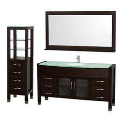 "Wyndham Collection(R) - Daytona 60"" Bathroom Vanity Set by Wyndham Collection - Espresso - The Daytona 60"" Bathroom Vanity Set is a modern classic with elegant, contemporary lines. This beautiful centerpiece, made in solid, eco-friendly zero emissions wood, comes complete with matching mirror and side cabinet. From fully extending drawer glides and soft-close doors to the 3/4"" green glass, ivory marble or man-made stone counter, quality comes first, like all Wyndham Collection products. Doors are made with fully framed glass inserts, and back paneling is standard. Available in gorgeous contemporary Cherry or rich, warm Espresso. Transform your bathroom into a talking point with this Wyndham Collection original design, only available in limited numbers. The Daytona 60 inch vanities offer choices for countertops that include Ivory Marble with undermount sink, and the amazing 3/4 inch thick one-piece counter and integral sink which gives the Daytona vanity the beautiful, clean look necessary in any modern vanity. The mirror, side cabinet and faucet are included in this magnificent vanity set, supplying you with everything you need for your bathroom remodel. The Wyndham Collection is an entirely unique and innovative bath line. Sure to inspire imitators, the original Wyndham Collection sets new standards for design and construction.Available in additional sizes, finishes and counter options. Features Constructed of solid, environmentally friendly, zero emissions wood, engineered to prevent warping and last a lifetime All counters are pre-drilled for a single-hole faucet Includes drain assembly and P-trap Includes Matching Mirror Six (6) fully functional drawers Two (2) soft-close doors Concealed soft-close door hinges Counter options include Green Glass, White Man-Made Stone, Ivory Marble Includes integrated sink with green glass or white man-made stone and undermount sink with ivory marble counter Brushed Chrome exterior hardware Includes four drawer, two shelf side cabinet Plenty of storage space How to handle your counter Spec Sheet for Vanity with Integrated Sinks Spec Sheet for Vanity with Undermount Sinks Spec Sheet for Tavello Side Cabinet (WC-K-W045) Spec Sheet for April Rotating Wall Cabinet (WC-V202) Spec Sheet for Diana Wall Cabinet (WC-V203) Spec Sheet for Bailey Wall Cabinet (WC-V205) Spec Sheet for Centra Wall Cabinet (WC-V207) Installation Guide for Centra Wall Cabinet (WC-V207) Installation Guide for Vanity Natural stone like marble and granite, while otherwise durable, are vulnerable to staining from hair dye, ink, tea, coffee, oily materials such as hand cream or milk, and can be etched by acidic substances such as alcohol and soft drinks. Please protect your sink by avoiding contact with these substances. For more information, please review our ""Marble & Granite Care"" guide."