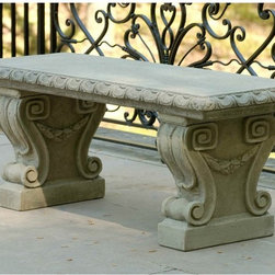 Campania International - Campania International Longwood Main Fountain Garden Cast Stone Backless Garden - Shop for Benches from Hayneedle.com! About Campania InternationalEstablished in 1984 Campania International's reputation has been built on quality original products and service. Originally selling terra cotta planters Campania soon began to research and develop the design and manufacture of cast stone garden planters and ornaments. Campania is also an importer and wholesaler of garden products including polyethylene terra cotta glazed pottery cast iron and fiberglass planters as well as classic garden structures fountains and cast resin statuary.Campania Cast Stone: The ProcessThe creation of Campania's cast stone pieces begins and ends by hand. From the creation of an original design making of a mold pouring the cast stone application of the patina to the final packing of an order the process is both technical and artistic. As many as 30 pairs of hands are involved in the creation of each Campania piece in a labor intensive 15 step process.The process begins either with the creation of an original copyrighted design by Campania's artisans or an antique original. Antique originals will often require some restoration work which is also done in-house by expert craftsmen. Campania's mold making department will then begin a multi-step process to create a production mold which will properly replicate the detail and texture of the original piece. Depending on its size and complexity a mold can take as long as three months to complete. Campania creates in excess of 700 molds per year.After a mold is completed it is moved to the production area where a team individually hand pours the liquid cast stone mixture into the mold and employs special techniques to remove air bubbles. Campania carefully monitors the PSI of every piece. PSI (pounds per square inch) measures the strength of every piece to ensure durability. The PSI of Campania pieces is currently engineered at a