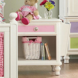 Pulaski - Pawsitively Yours Nightstand - Includes four interchangeable panels. One drawer. English dovetail drawer construction adds stability and durability. Full extension ball bearing roller guides and stops provide easy access for small hands. Prevent injury from drawers tipping and falling from case. Exclusive customizable hardware knobs. Each pull comes with two different drawer knob styles. Open storage with cord management opening. Removable magazine storage fits left or right side. Vase shaped bun feet. Vanilla finish. Made in Vietnam. 28 in. W x 18 in. D x 26 in. H (68 lbs.). Assembly InstructionsThe Build-A-Bear Workshop HOME collection by Pulaski Furniture is the first youth collection designed by kids for kids. Create a sense of wonder and imagination for your kids with the Pulaski Pawsitively Yours Bedroom Collection. This amazing collection was designed by kids for kids with a bit of magic from the Build a Bear Workshop.